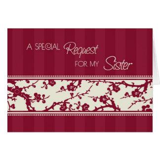 Cartão floral do convite da dama de honra da irmã