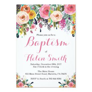 Cartão floral do convite do baptismo
