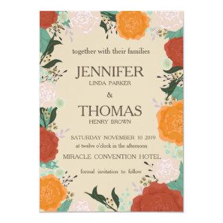 Cartão floral do convite do casamento do quadro.