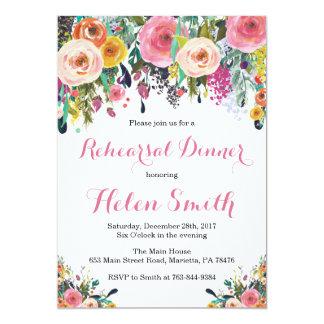Cartão floral do convite do jantar de ensaio