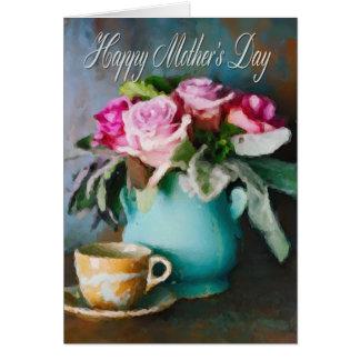 Cartão floral do dia das mães cartão comemorativo
