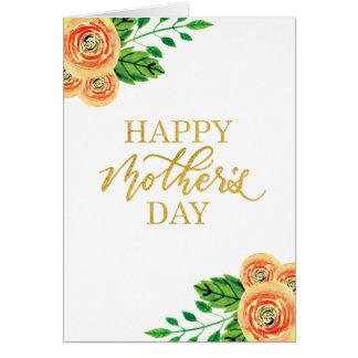 Cartão floral do dia das mães da aguarela