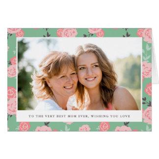 Cartão floral do dia das mães da foto do vintage