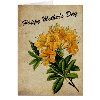 Cartão floral do dia das mães do olhar do vintage