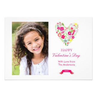 Cartão floral do dia dos namorados do coração convite personalizado