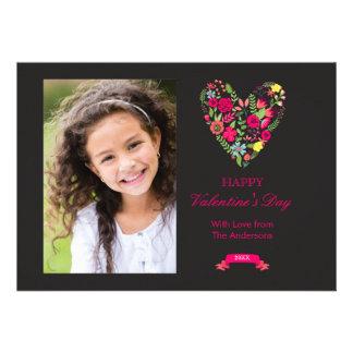 Cartão floral do dia dos namorados do coração convite