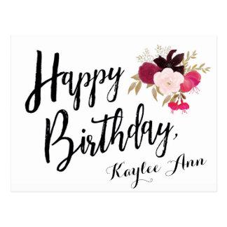 Cartão floral do feliz aniversario para ela