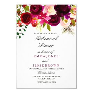 Cartão floral do jantar de ensaio do casamento de