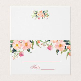 Cartão floral do lugar do casamento do rosa