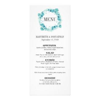 Cartão floral do menu do casamento da grinalda da