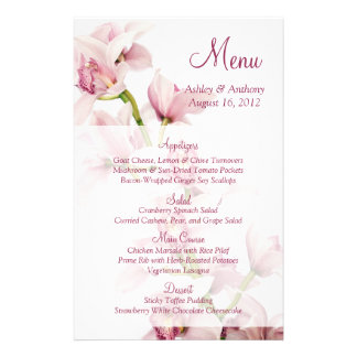 Cartão floral do menu do casamento da orquídea cor