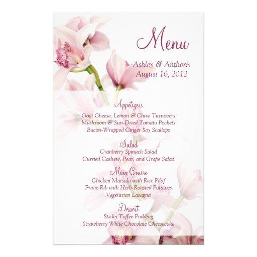 Cartão floral do menu do casamento da orquídea cor panfleto
