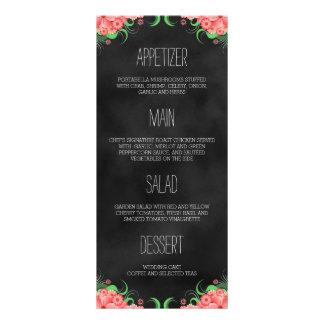 Cartão floral do menu do comensal do rosa preto do 10.16 x 22.86cm panfleto