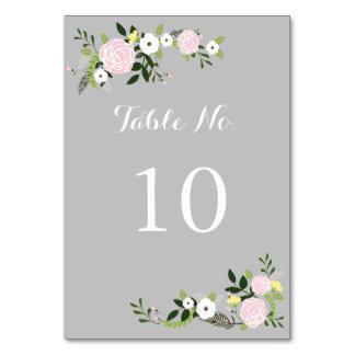 Cartão floral do número da mesa do jardim - cinza