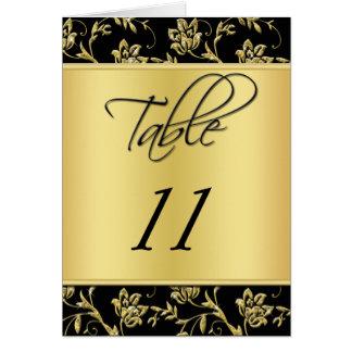 Cartão floral do número do preto e da mesa do ouro
