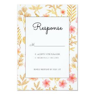 Cartão floral do rsvp do convite do casamento do