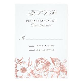 Cartão floral do vintage cor-de-rosa RSVP do ouro Convite 8.89 X 12.7cm