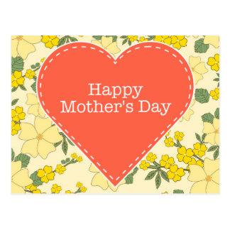 Cartão floral do vintage feliz do amarelo do dia