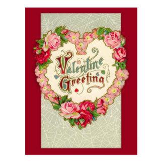 Cartão floral dos namorados do coração do vintage