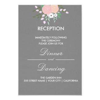 Cartão floral elegante da recepção - cinza convite 8.89 x 12.7cm