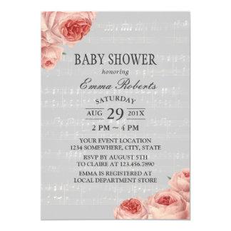 Cartão Floral elegante do chá de fraldas da música