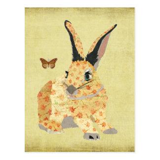 Cartão floral gasto do coelho cartão postal