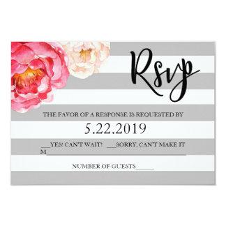 Cartão floral listrado cinzento de RSVP