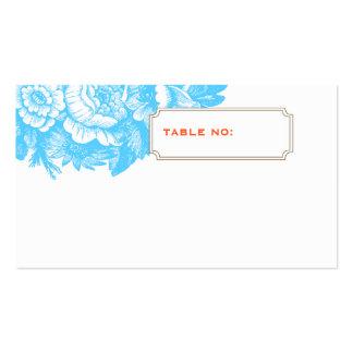 Cartão floral Luxe da escolta do casamento em azul Cartão De Visita
