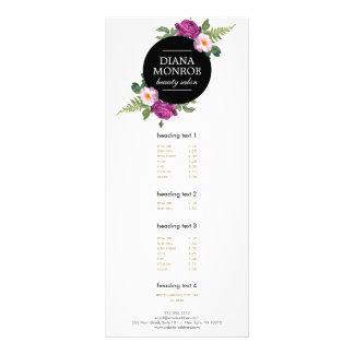 Cartão floral moderno da cremalheira do salão de 10.16 x 22.86cm panfleto
