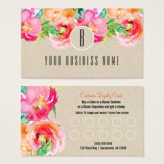 Cartão floral moderno da lealdade do cliente da