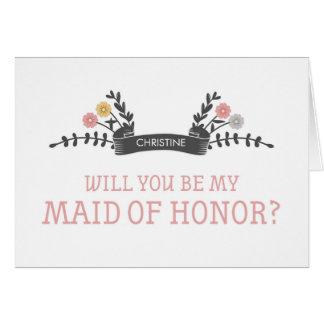 Cartão floral moderno do pedido da madrinha de