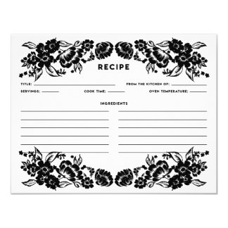 Cartão floral moderno preto e branco da receita do