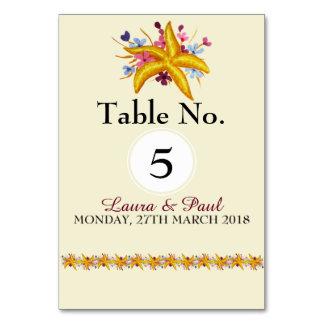 Cartão floral náutico da mesa da estrela do mar
