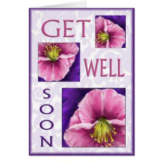 Cartão Floral obtenha desejos do poço logo