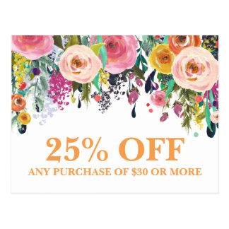Cartão floral pintado das promoções do marketing cartão postal