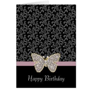 Cartão Floral preto chique