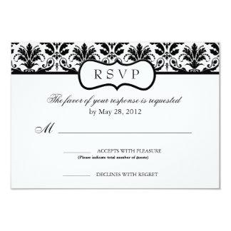 Cartão floral preto e branco da resposta do convite 8.89 x 12.7cm