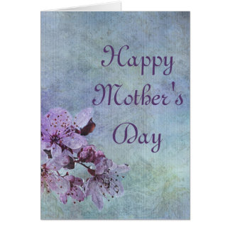Cartão Floral roxo do dia das mães feliz