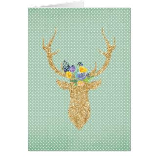 Cartão Floral roxo dos Antlers tribais boémios dos cervos