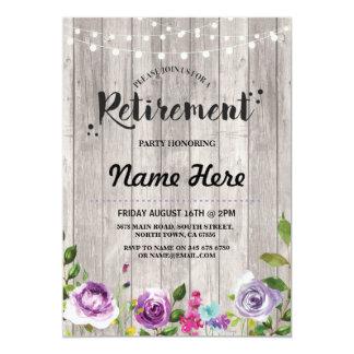 Cartão Floral roxo rústico do partido de aposentadoria