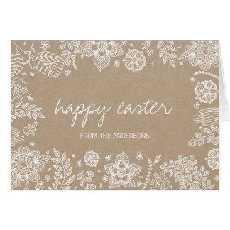 Cartão Cartão floral rústico do felz pascoa de Kraft