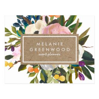 Cartão floral rústico do negócio do vintage cartão postal