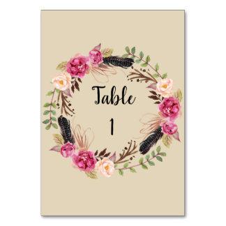 Cartão floral rústico do número da mesa de Boho