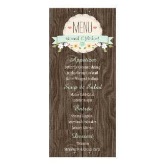 Cartão floral rústico verde do menu do casamento