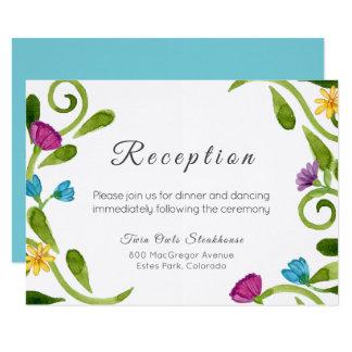 Cartão floral verde da recepção