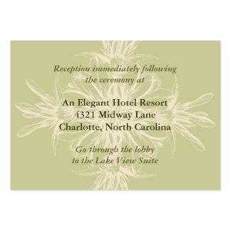Cartão floral verde-oliva antigo da recepção cartão de visita grande