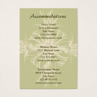 Cartão floral verde-oliva antigo das acomodações