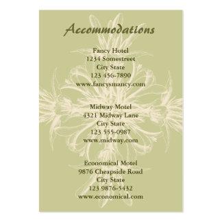 Cartão floral verde-oliva antigo das acomodações modelo cartões de visitas
