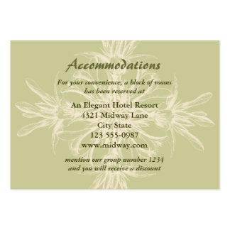 Cartão floral verde-oliva antigo das acomodações cartao de visita