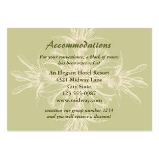 Cartão floral verde-oliva antigo das acomodações cartão de visita grande